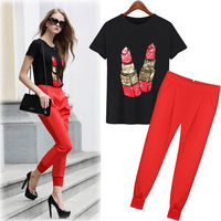 2019 New Spring Women's Sets Short sleeved Summer Sequins Haroun Pants Two Suits T shirt Red Pants Causal Women Clothing Sets