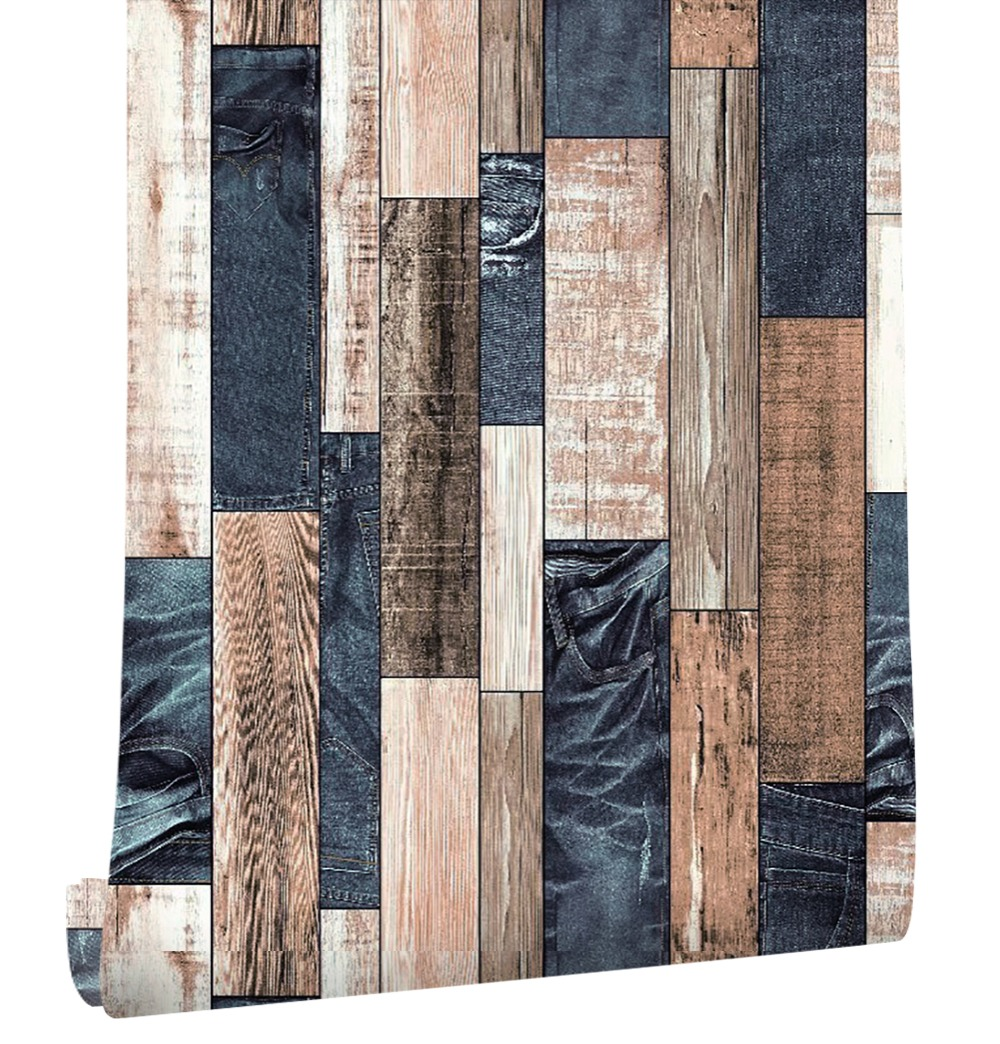 HaokHome Wood Wallpaper For Walls 3D Blue/Brown Vinyl Contact Paper Home Kitchen Bedroom Living Room Home Wall Decor