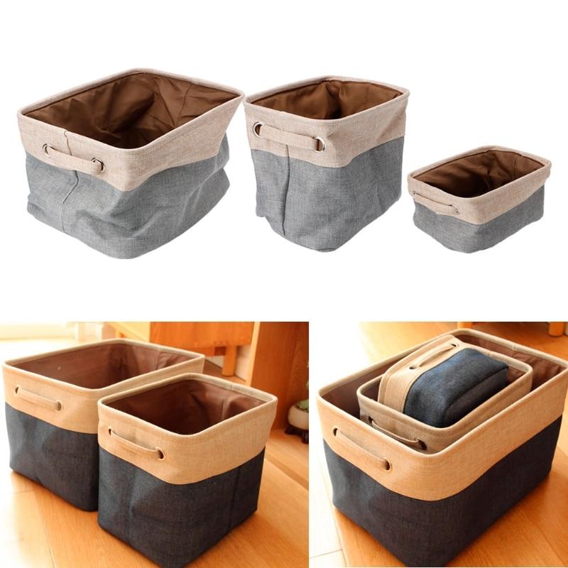 Square Collapsible Canvas Storage Box Foldable Kids Toys: Folding Square Storage Utility Box Linen Cube Drawer