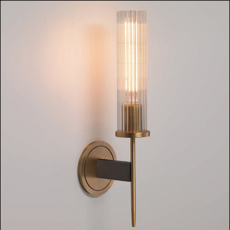 Image 4 - Modern Brass Wall Lamp Sconce Ribbed Long Glass Vintage Retro Copper Hotel Restaurant Loft Bar Bedroom Bedside Vanity Wall Light-in LED Indoor Wall Lamps from Lights & Lighting