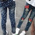 Джинсы дети 2016 новых детских весна обтягивающих брюках карандаш брюки Корейских девушки мультфильм точка печати джинсы