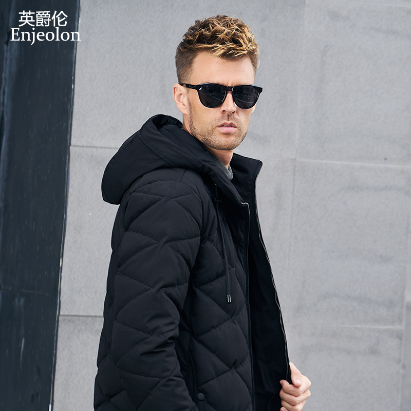 Enjeolon Brand winter Cotton Padded hoodies Jacket Men thick hooded   Parka   coat male Quilted winter jacket Coat 3XL MF0708
