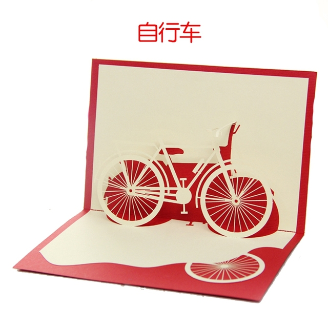 Small Fresh Perspective Bike Celebrate New Year Birthday Invitation Postcards Business Children Carved Custom Handmade Paper
