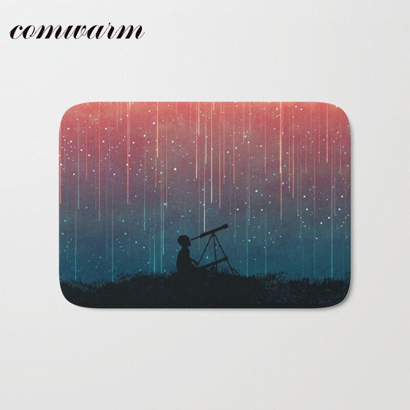 comwarm light flannel 40*60cm decoration stair mats beautiful meteor shower colorful night rugs anti skid bathroom door carpets