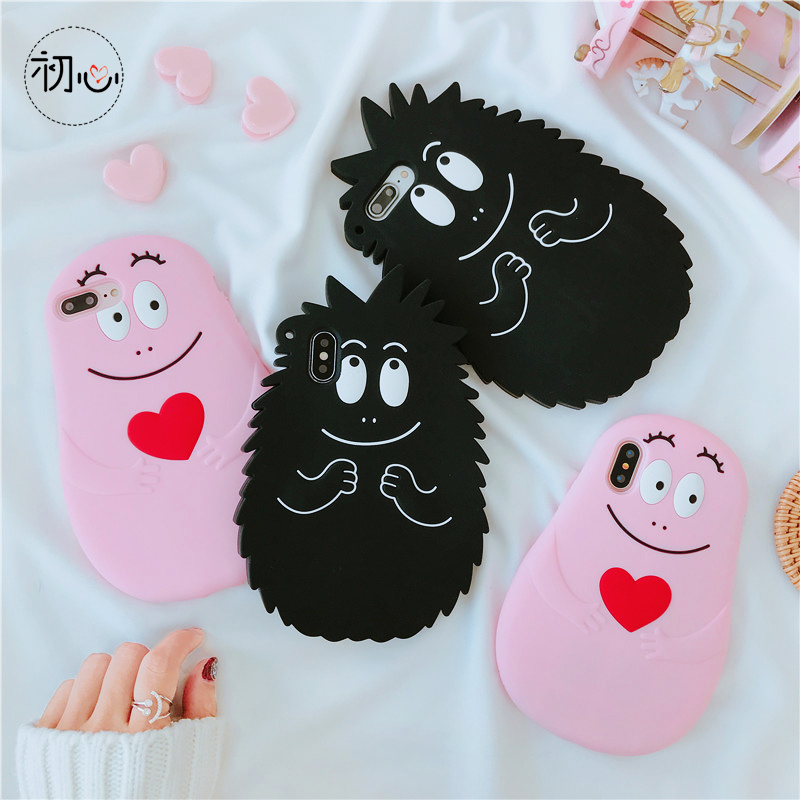 Pink love Barbapapa 3D Barbamama Korean cute girl heart silicone cover case for iphone 6 7 8 plus X XR XS MAX phone cases
