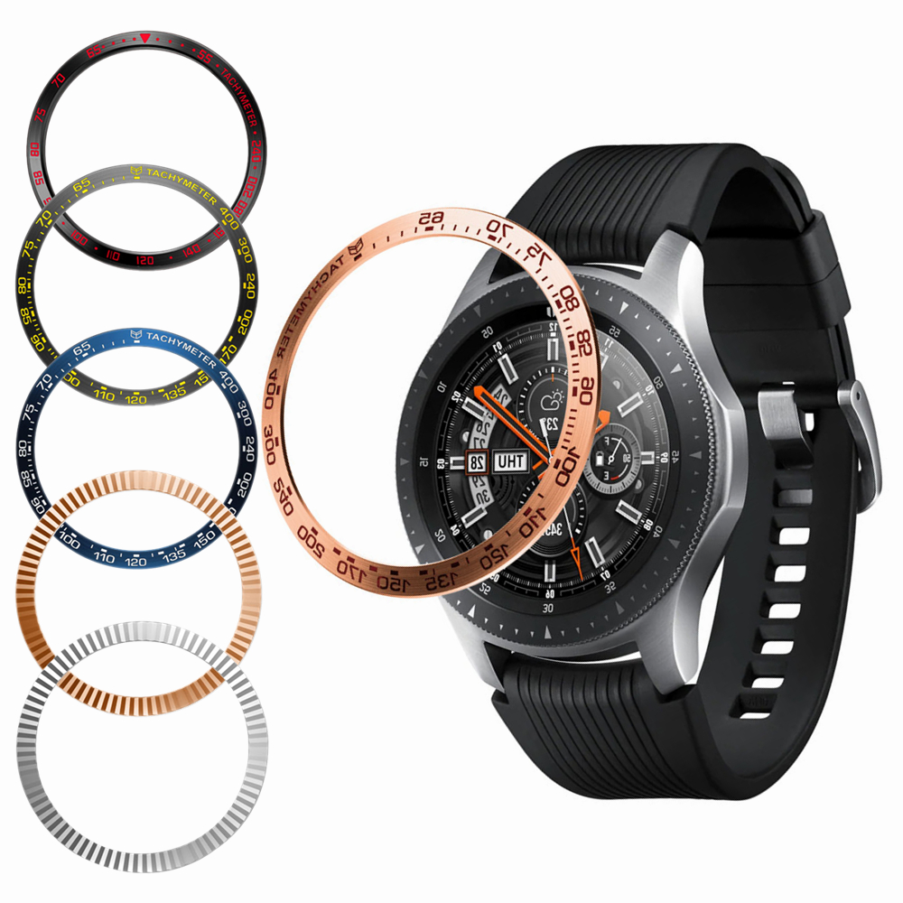 Smart Watch Metal Csae Cover Bezel For Samsung Galaxy Watch Gear S3 46mm Bezel Ring Adhesive Cover Anti Scratch Accessories 46/3