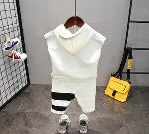Image 5 - תינוק בני בגדי סטי קיץ כותנה מכתב מודפס ילד סטי 2PCS T חולצה + ילדי מכנסי חליפת 2 6years