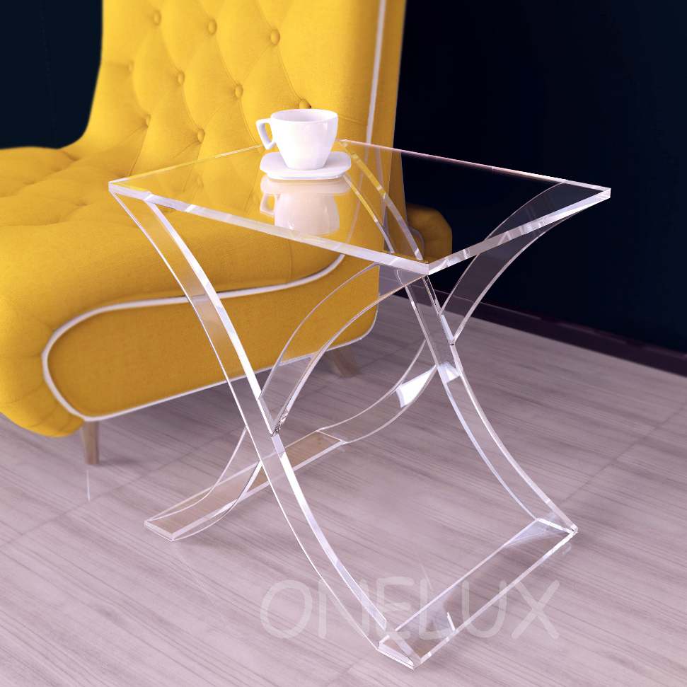 X - Legged Clear Acrylic Occasional Side Sofa Table,Lucite Coffee Tea Tables -60W45D60H CM hot sale c shaped waterfall acrylic occasional side table