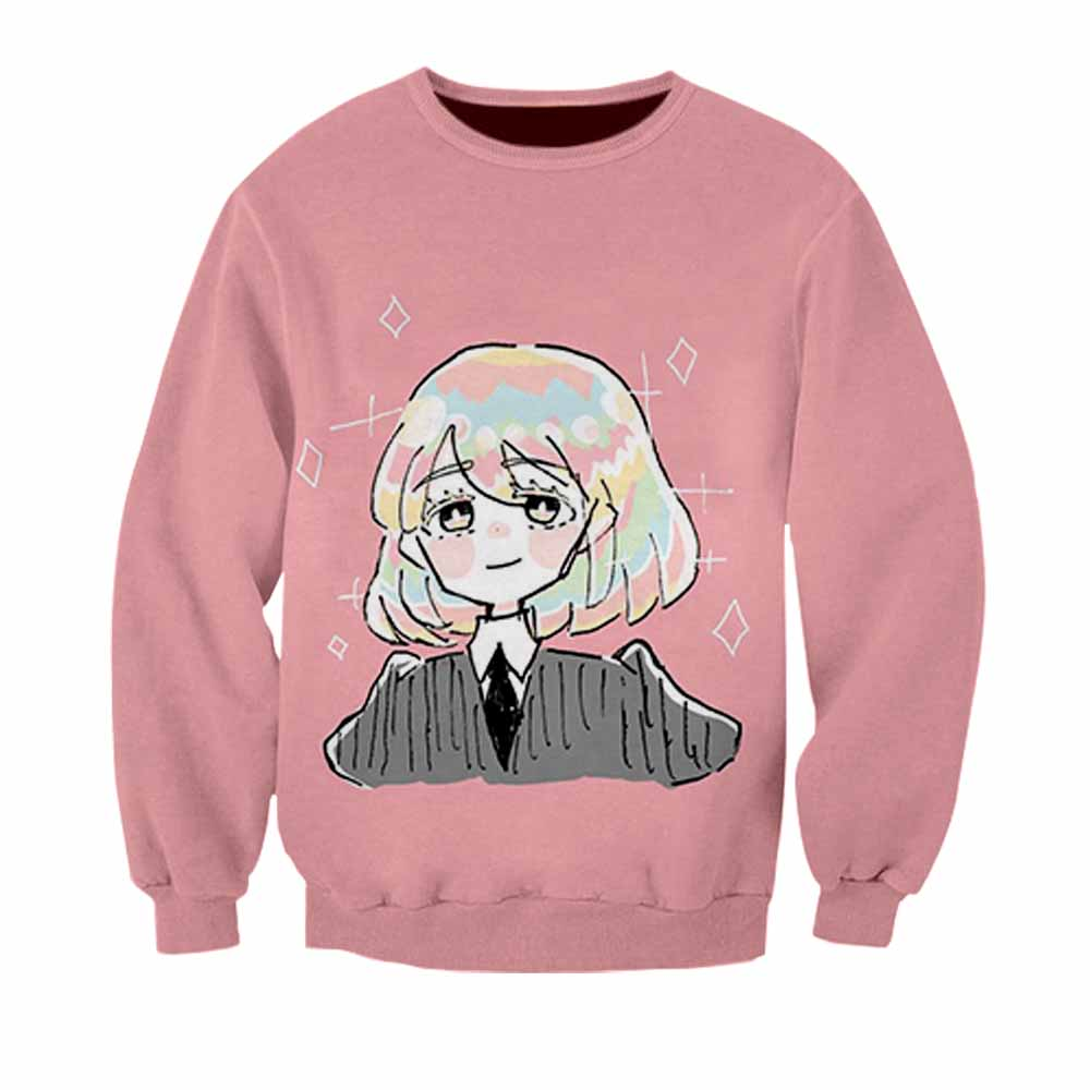 Women's Clothing Popular Brand 2019 Hot Womens Clothing Sweatshirts Dress 3d Print Girl Japanese Comics Pink Cute Teens Girl Cartoon Pullovers O-neck Full Tops 100% Guarantee