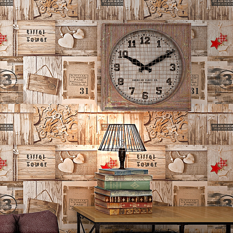 Купить с кэшбэком Lmitation Wood Grain Plank Wallpaper Cafe Bar Background Graffiti Korean Poster Retro Nostalgic Wallpapers
