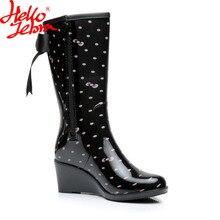 Hellozebra женские резиновые ботинки для торжеств женские высокие ботинки на платформе Высокий каблук Водонепроницаемый пряжка в 2017, Новая мода Дизайн