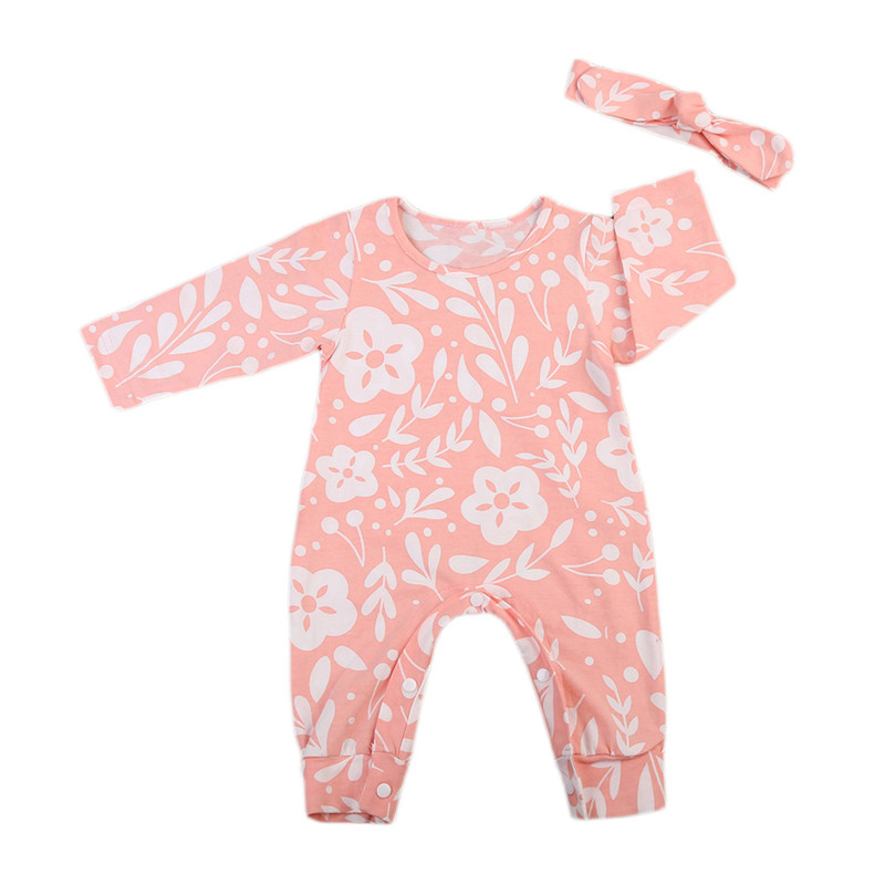 Autumn Cute Newborn Infant Baby Girls Floral Long Sleeve Romper Jumpsuit Playsuit + Headbands Outfits Toddler Clothes Set