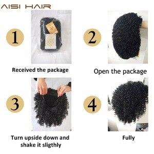 Image 4 - AISI ผมสังเคราะห์ผมสั้น Afro Kinky CURLY Wigs สำหรับผู้หญิงสีดำผมสูงเส้นใยผสมสีน้ำตาลและสีบลอนด์สี