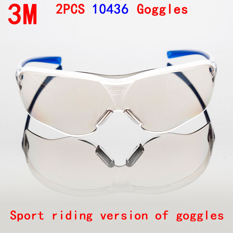 3M 2PCS 10436 gafas de Seguridad proteccion PC Mirror slice glasses safety dust wind The brace Uv protection laser goggles protection cycling bicycle safety glasses riding cycling goggle eyewear gafas de seguridad men women sunglasses2103
