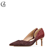 Купить с кэшбэком GOXEOU 2019 Women Pumps size 32-46 Thin Heel High Heels Sexy Pointed Toe Slip-On Bling Wedding Office Handmade  Free Shipping