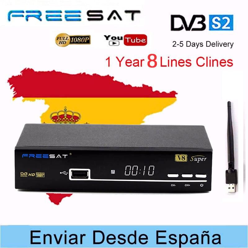 Récepteur TV SUPER Satellite Freesat V8 HD + USB WIFI DVB-S/S2 récepteur satellite + 1 an décodeur de télévision satellite gratuit CCcam en Europe