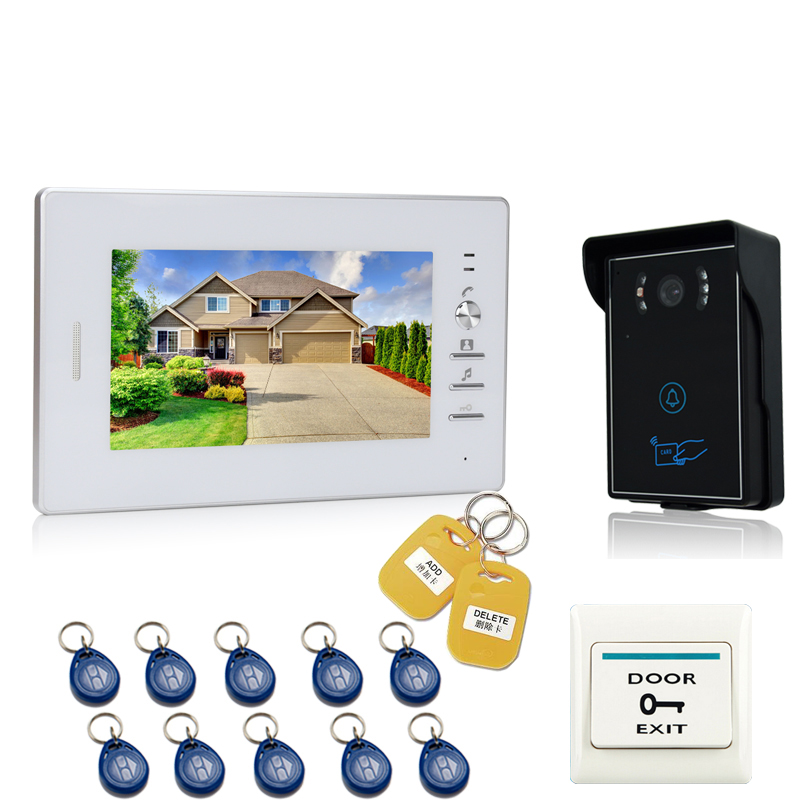 JEX 7 inch LCD Video Door Phone doorbell Entry Intercom System kit 700TVL Touch Key Waterproof RFID Access Camera In stock