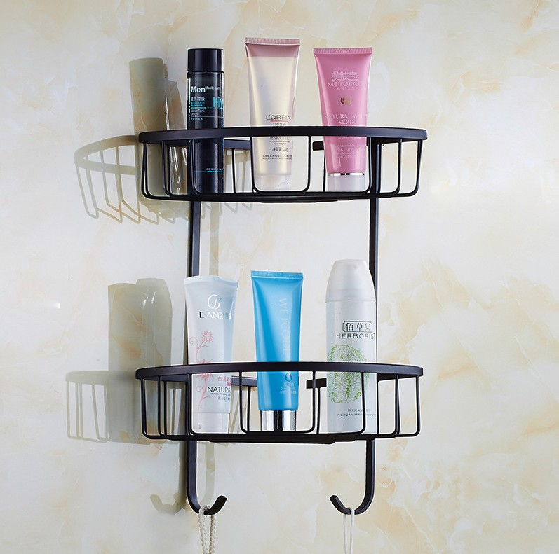 Europe Vintage Style Black Finish Bathroom Shower shampoo Shelf  Basket Holder/ Strong Brass Material Design /Corner Shelf black bathroom shelves stainless steel 2 tier square shelf shower caddy storage shampoo basket kitchen corner shampoo holder