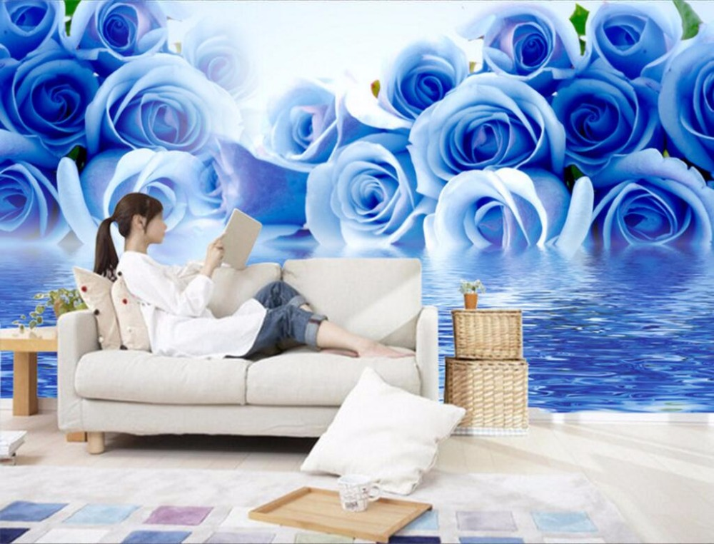 Custom mural 3d photo wallpaper Blue roses water reflection painting picture 3d wall murals wallpaper for living room walls 3 d