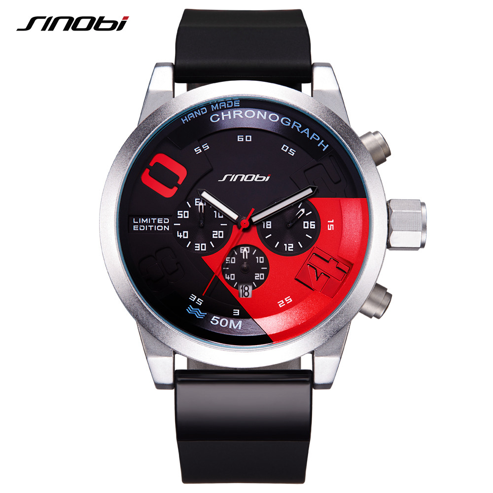SINOBI Men Sports Watches Relogio Masculino Waterproof Red Dial Mans Chronograph Quartz Wrist Watch 2017 New Fast & Furious mige 2017 new hot sale lover man watch rose gold case white casual ultrathin waterproof relogio masculino quartz mans watches