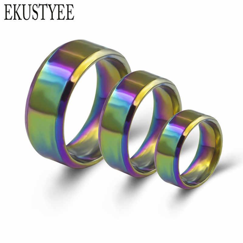 8mm anillos de acero inoxidable para hombres coloridos anillos arcoíris joyería de moda regalo para fiesta
