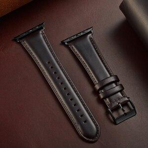 Image 5 - Scuro Marrone genuino della mucca Della Cinghia di Cuoio Per Apple Watch Band 42 millimetri 44 millimetri Viotoo Mens Cinturino di Vigilanza Per iWatch 5 4 band