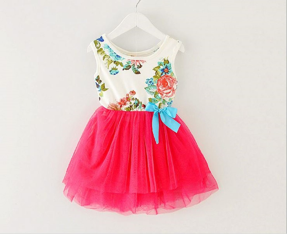 Girl Dress Summer 2017 New Floral Baby Girl Dress Princess Dress  Infant Dresses Kids Clothing With Bow children girl clothes new summer baby girls floral dress with cap european style designer bow children dresses kids clothes 3 8y