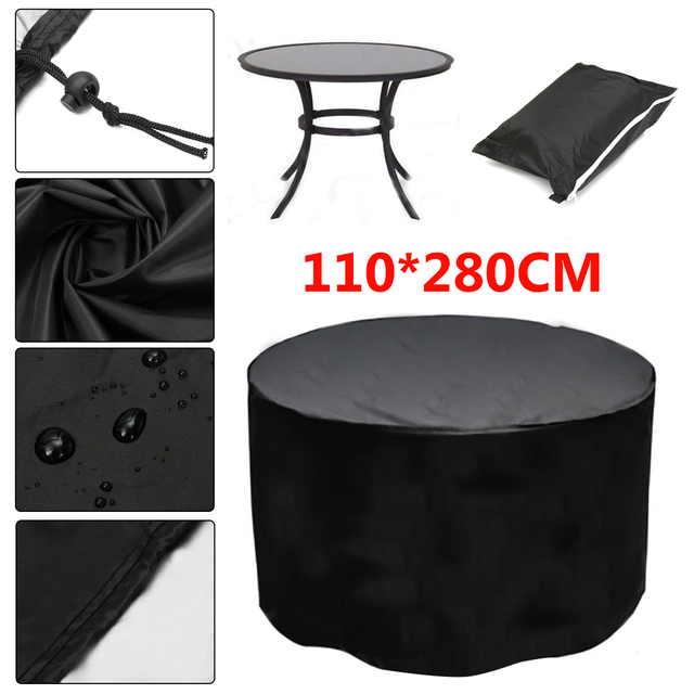 110x280cm Durable Round Outdoor Furniture Cover Waterproof Dust Garden Patio Table Chair Protector Cloth
