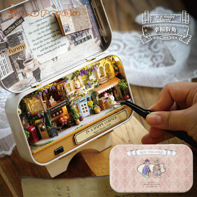DIY cabin box theater mini art Wooden house DIY hand-assembled small house creative gift Architecture House Mininatures tin