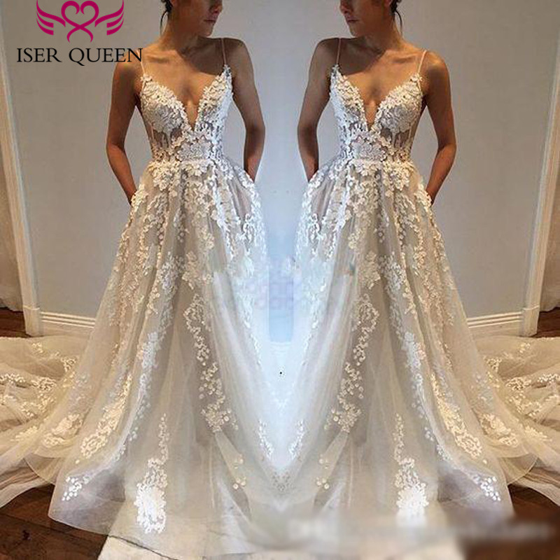V neck Sexy Backless Spaghetti Straps Europe Wedding Dress 2019 A line Appliques Embroidery Long Train Bridal Dress Wedding Gown