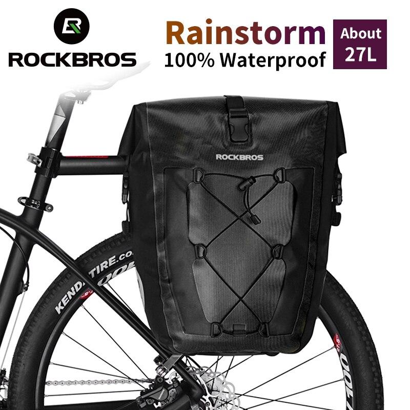 ROCKBROS étanche 27L sac de vélo arrière Rack queue siège sac Portable vélo vtt sac de vélo sacoche coffre sac à dos vélo accessoire