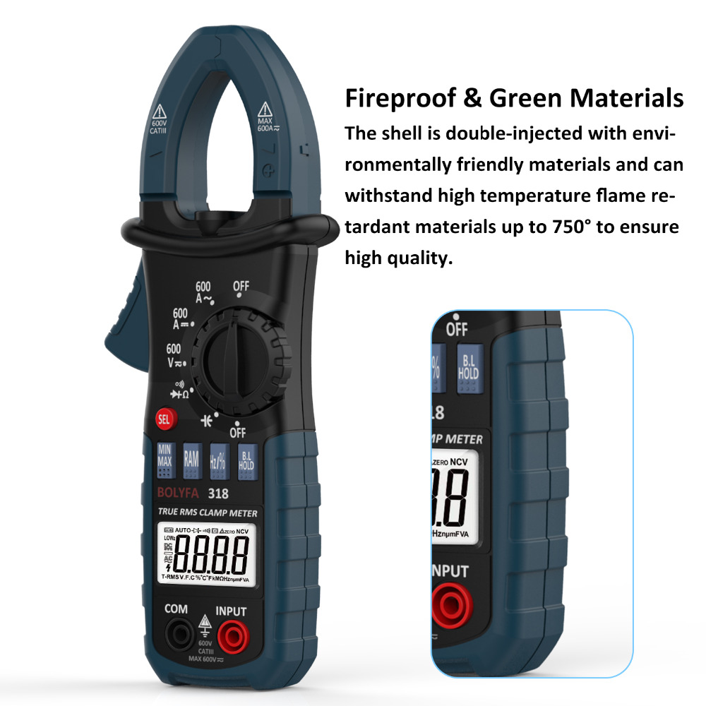 BF318 Current Clamp Meter Pliers Ammeter Resistance Capacitance Tester AC DC Amperimetric RMS Clamp Multimeter Ampere