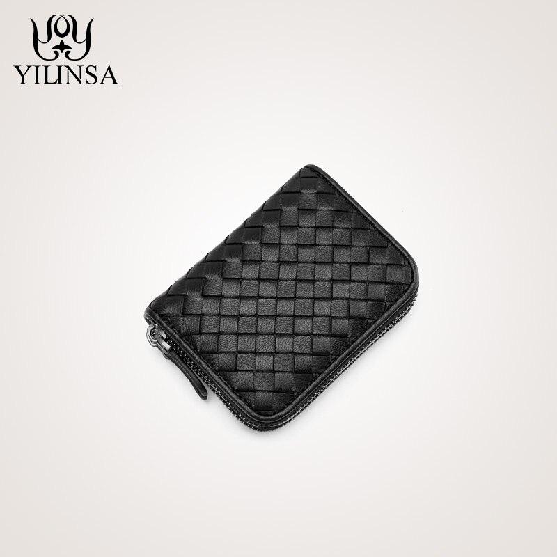 sheepskin handmade weave wallet zipper card pack women mini coin purse genuine leather ID holders women wallet