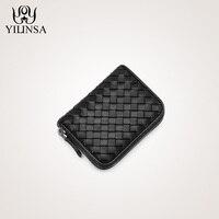 Sheepskin Handmade Weave Wallet Zipper Card Pack Women Mini Coin Purse Genuine Leather ID Holders Women