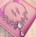 bridal necklace earrings luxurious rhinestone jewelry crystal Wedding Accessories jewelry set women bijoux necklace earrings