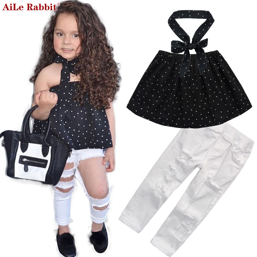 AiLe Rabbit Summer Kids Fashion Girls Clothing Sets 3 pcs Black - ملابس الأطفال