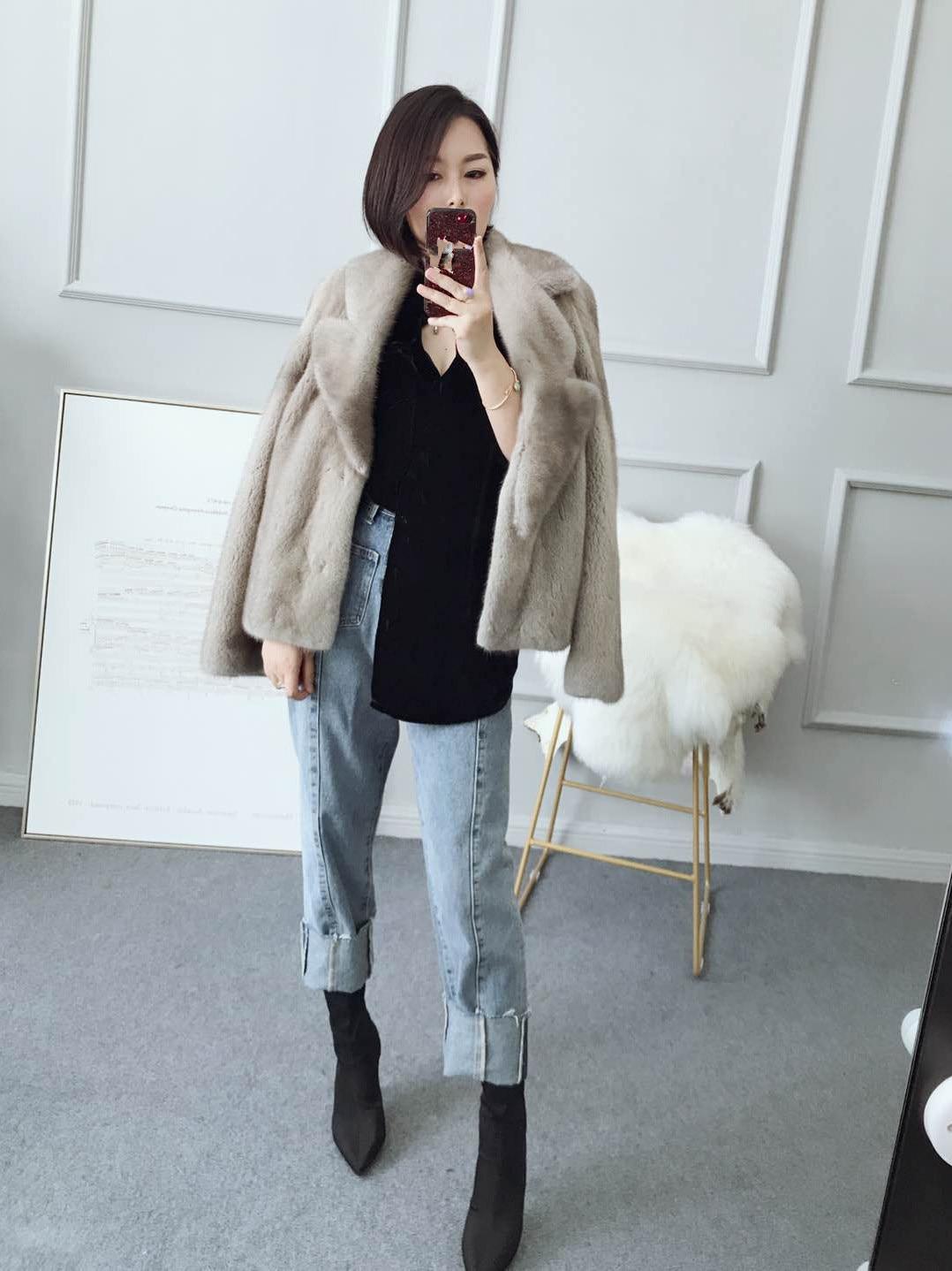 Blue Silver Vison Fourrure Nouvelles Mode Courte Femmes Veste Col Outwear Manteau Irrégulière 2018 De BpFqO4nW