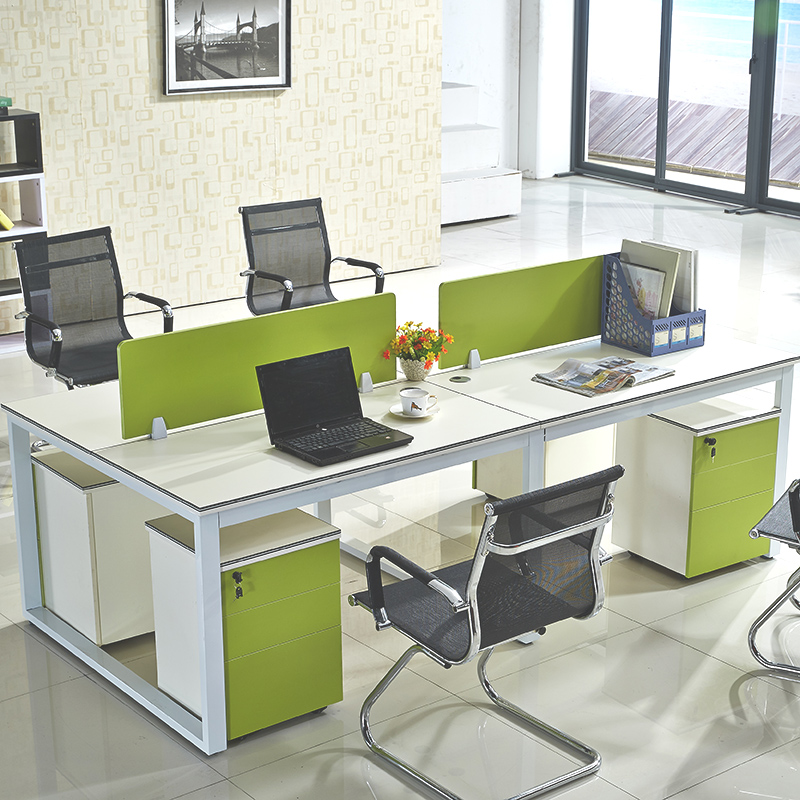 Office Table For 4 Person: Staff Desk Deck Chairs Combination 4 Person 6 Simple
