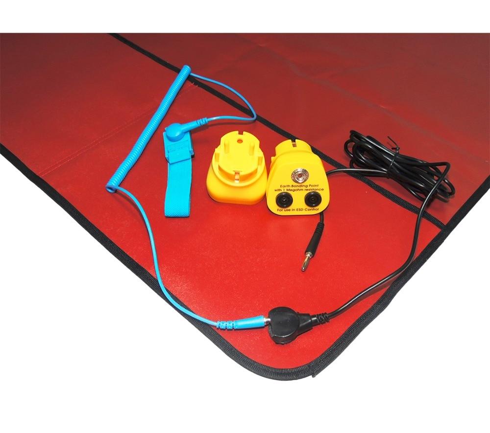 Free Shipping AIDACOM Anti-static Red Field Service Kits/ESD MAT with Blue Wrist Strap+2M Grounding Lead Kits+EU EBP Plug