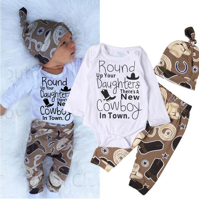 3af7e0b40 Cowboy Newborn Baby Girl Boy Clothes Long Sleeve Cotton Bodysuit ...