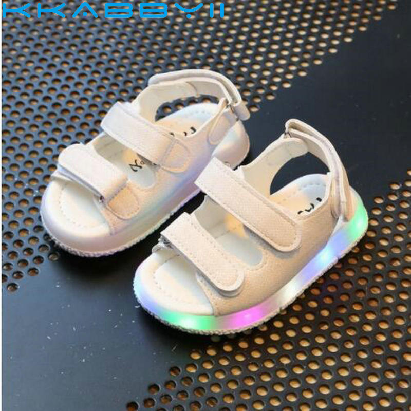 New Brand Glowing New Kids Sandals Shoes Boys Girls Flat Baby Led Luminous Lighting Sneakers Sandals
