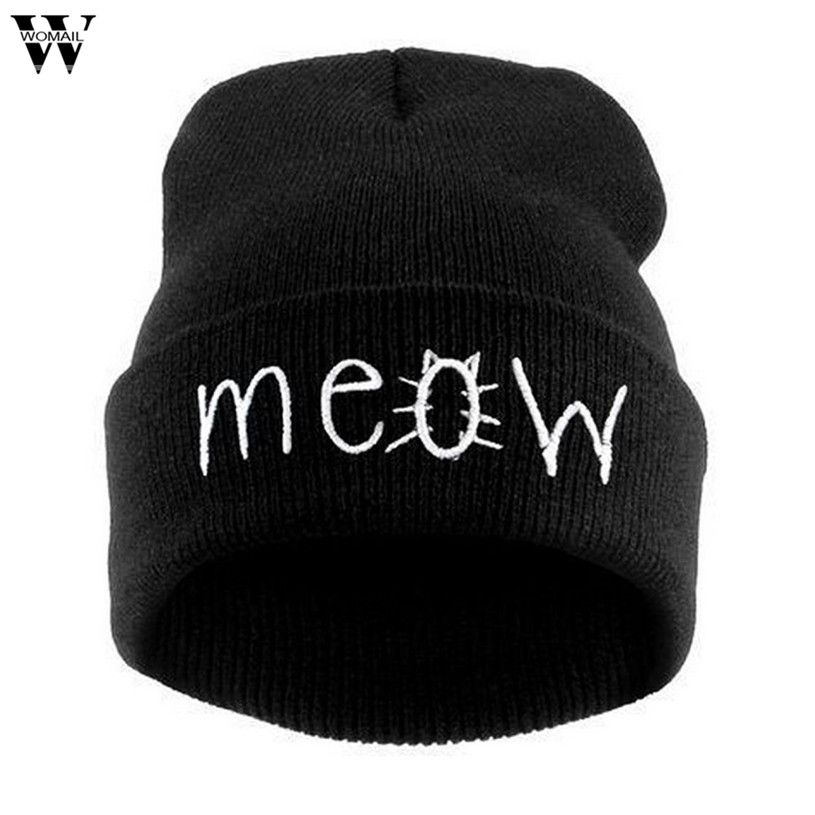 Womail Winter Knitting MEOW Beanie Hat Snapback Fashion unisex Hiphop Cap for Men Women #20 2017  Gift 1pc ледянка санки снегокаты rt snow auto mini l желтый до 150 кг пвх