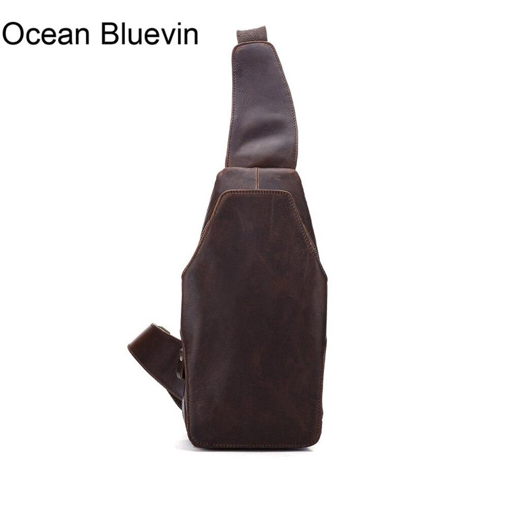 OCEAN BLUEVIN New brand Designer Fashion Genuine Leather Sling Chest Pack Men Messenger Crossbody Bag Vintage Shoulder Bags все цены