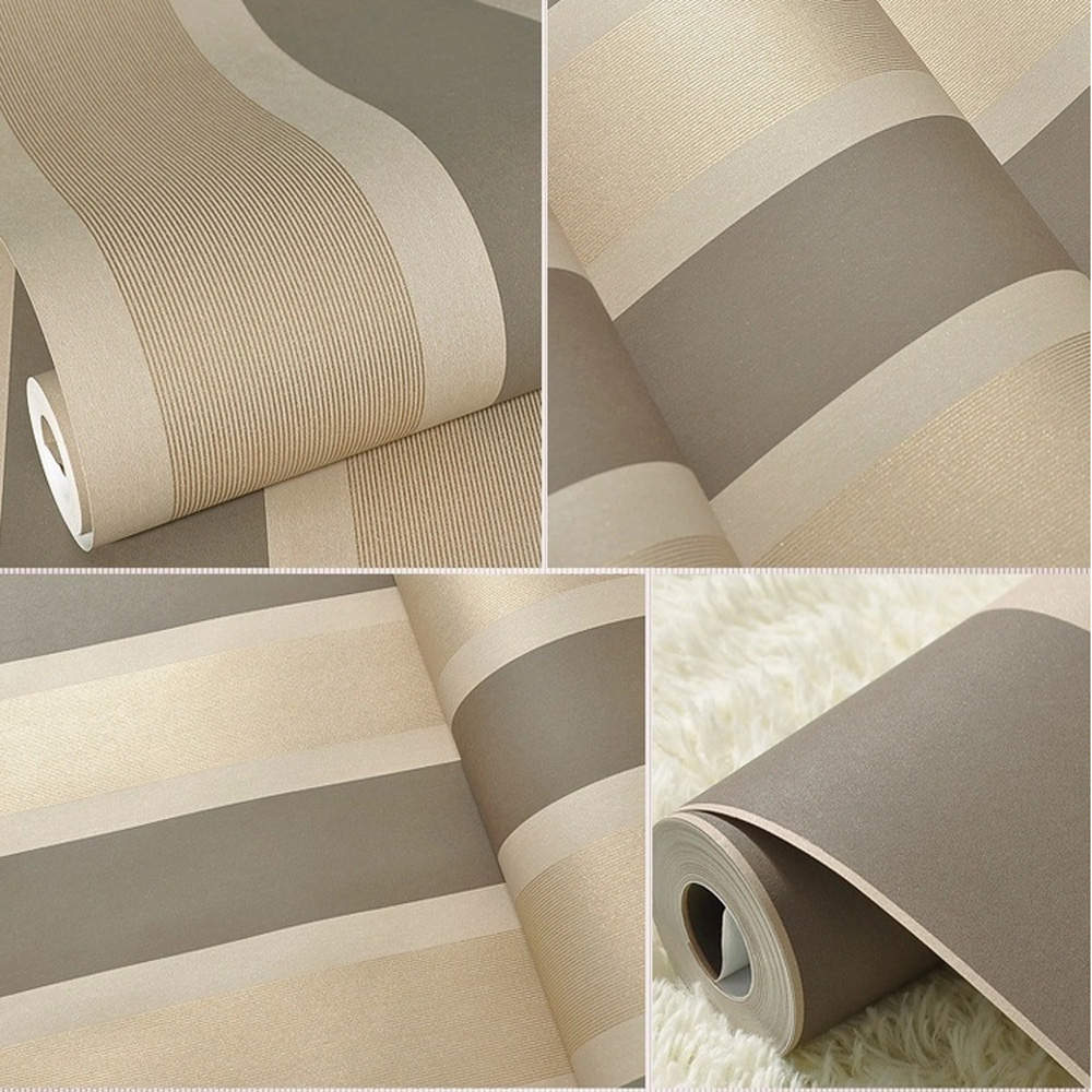 Q QIHANG High Texture Modern Minimalist Multicolor striped Non woven  Wallpaper Brown Gray Color 0.53m*10m=5.3m2-in Wallpapers from Home  Improvement on ...