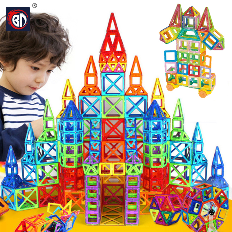 BD Mini Magnetic Blocks 164pcs Magnetic Designer Building Blocks Model Building Toy Plastic Educational Toys For Children small car shape magnetic designer building blocks model