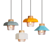 Contemporary Aluminium Wood Pendant Light Black White Blue Grey Modern Lamp Lighting Fixture For Home Restaurant Cafe
