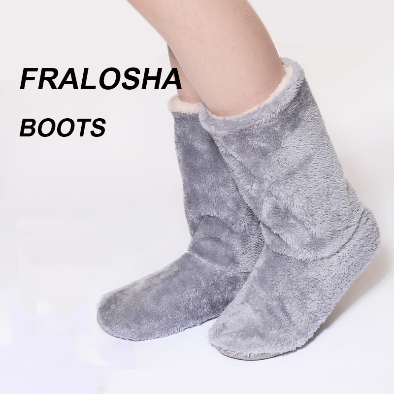 FRALOSHA Long tube Slippers Cotton slippers Women Winter Warm Home Cotton-padded Shoes Winter Soft bottom Indoor Plush Slippers unisex autumn winter warm soft home non silp pure color slippers indoor shoes cotton padded shoes soft women indoor slippers