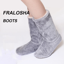 FRALOSHA Long tube Slippers Cotton slippers Women Winter Warm Home Cotton-padded Shoes Winter Soft bottom Indoor Plush Slippers