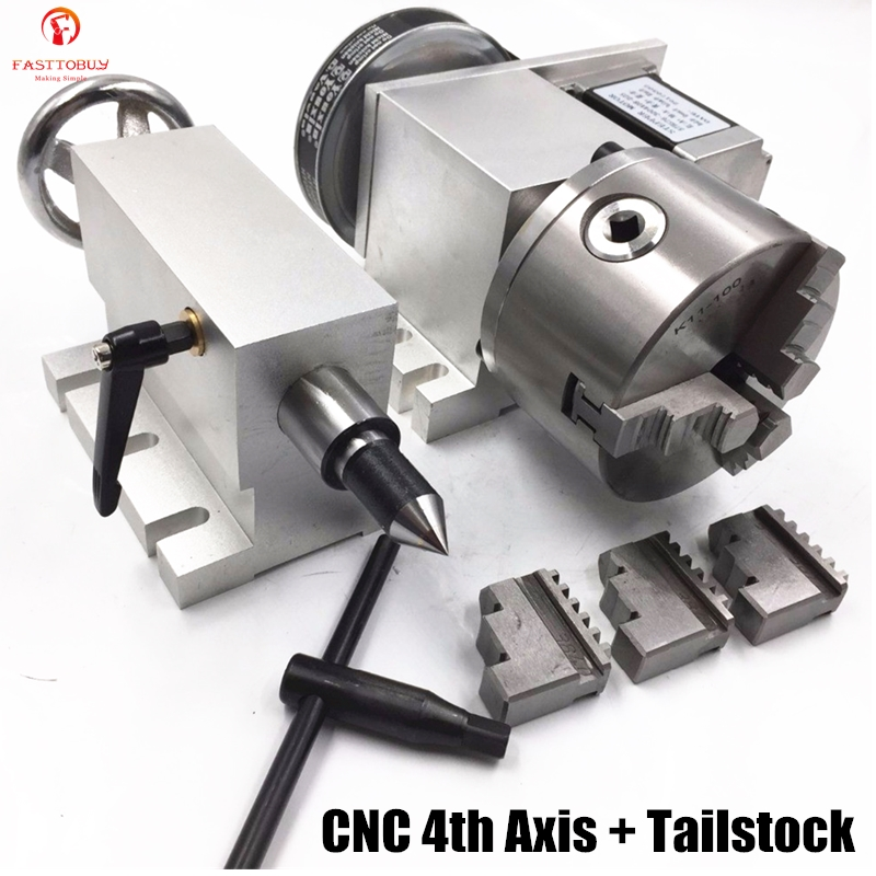 CNC 4th Axis 3 Jaw 100mm Lathe Chuck K11-100 Hollow Shaft CNC Rotary Axis + Tailstock-5 Ratio 6:1 Hollow Shaft For CNC Router