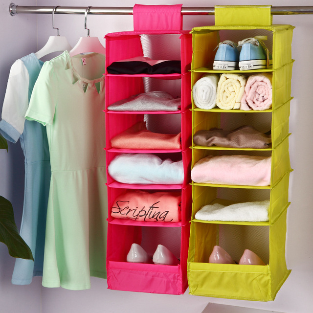 Smartlife Washable 5 Candy Colors Folding Hanging 6 Compartments Shelf  Closet Organizer Shoe Organizer Storage Bag
